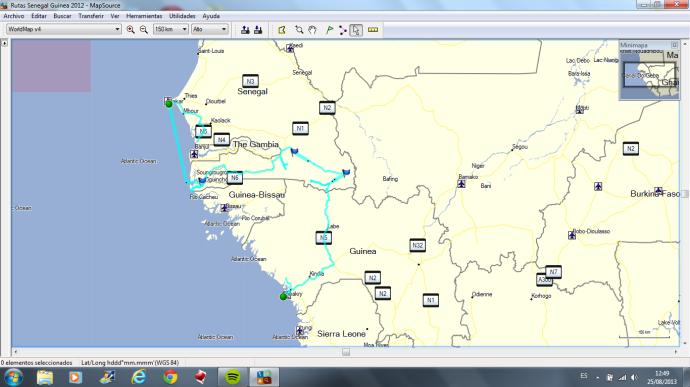 ruta realizada dakar conakry