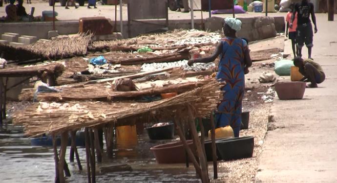 Secando pescado en puerto Delta Saloum